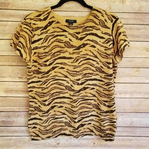 Vintage Chaps Animal Print T-Sweater Top EUC